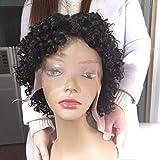 Morichy Echthaar-Perücke, für schwarze Frauen, kurz, Afro-Locken, Bob-Perücke, Lace-Front, Seitenteil, brasilianisches gewelltes Remy-Haar, natürliche schwarze Farbe
