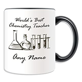 Personalised Gift - World's Best Chemistry Teacher / Flasks and Test Tubes Sketch Mug (Academic Design Theme, Colour Options) - Any Name / Message on Your Unique - School College University by UniGift