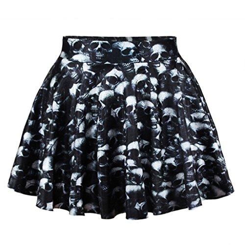 Scary Skull Heads Skater Skirt Digital Print Mini Skirt for Wome's Rock and Punk Dress-Up