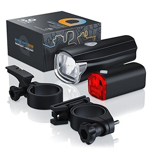 CSL – StVZO LED Fahrradbeleuchtung Set | Modell DG320 | Fahrradlampen / Fahrradlicht / Fahrradlampenset inkl. Front- und Rücklicht | helle LED (30 Lux) | energiesparend | Regen- und Stoßfest - 6