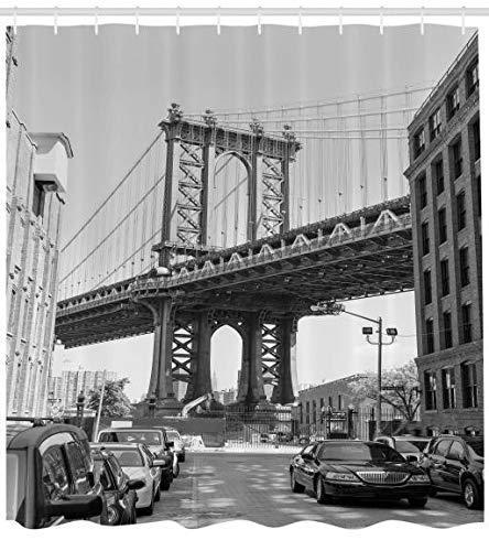 YANAN Landschaft Duschvorhang Brooklyn New York Trendiger Druck Stoff mit 12 Ringen Farbfest Bakterie und Wasser Abweichent 175 x 180 cm Schwarz-weiß und Holzkohle Grau -