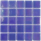 Lustre 2cm x 2cm iridescent vitreous glass tiles - Strip of 75 tiles (Zaffre)