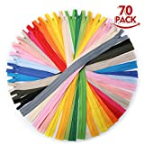 KING DO WAY 70pcs 15In Nylon Invisible Zipper Assorted Color Closed for Clothes Sewing Craft