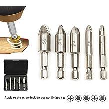 Tornillo de Juego de destornilladores para eliminar Dañados Tornillos Eliminador de tornillo, de h.s.s. 4241#, dureza: 62–63HRC, vernickel