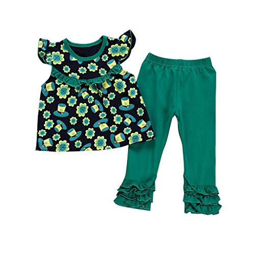 Cwemimifa Baby T-Shirt Mädchen Lustig Langarm,Kinder Runde Kragenstreifen Reine Farbe Kurzarm Jacke Druck Hornhose,Badminton-Bekleidungssets für Mädchen,blau