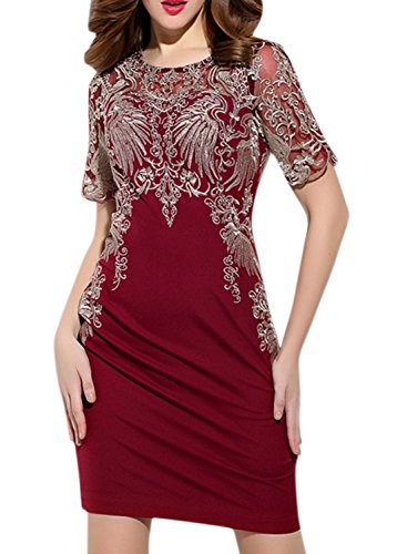 Azbro Women's Mesh Embroidered Patchwork Party Cocktail Bodycon Dress Burgundy