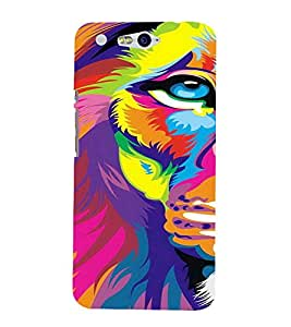 PrintVisa Modern Art Colorful Lion 3D Hard Polycarbonate Designer Back Case Cover for Infocus M812