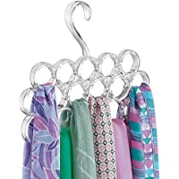 mDesign Percha para pañuelos - Organizador de pañuelos, chales, bufandas y más en su closet - Organizador de armarios para accesorios con 16 prácticos aros - Color: traslúcido