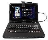 DURAGADGET Etui aspect cuir noir + clavier intégré AZERTY (français) pour tablettes Qilive 9.7R 9,7', Qilive Q4 10,1', Qilive Q3778 et Qilive 10.1'' Premium - Garantie 2 ans