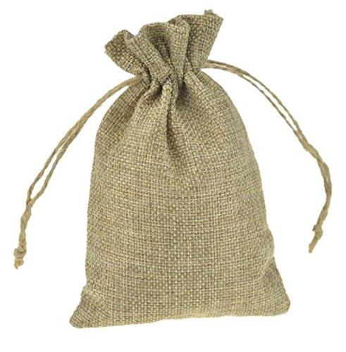 Plecupe 20 pezzi panno di lino di iuta sacchetti regalo con coulisse, 20x30cm vintage colore puro biancheria borse borse da regalo tela da imballaggio sacchetto dei monili candy bags, cachi