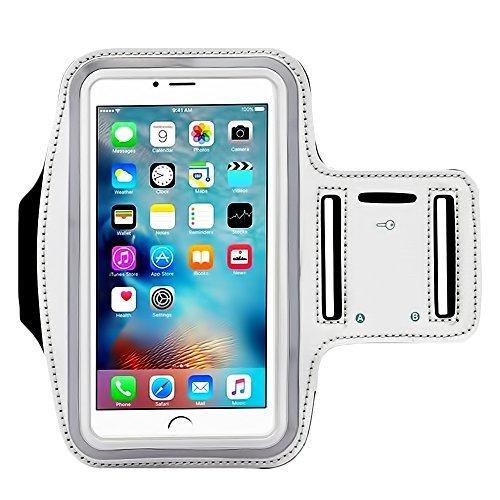 [4Pack] Premium Wasserabweisend Sport Armband mit Schlüsselfach für iPhone 7, 6, 6S (14cm), Galaxy, S6, S7, S3/S4, iPhone 5/5C/5S, Paket mit Displayschutzfolie vollständigen Zugriff auf Touchscreen (Box Otter Case 5s Handy Iphone)