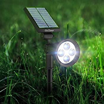 2016 upgraded led solar spot lights solar powered garden. Black Bedroom Furniture Sets. Home Design Ideas