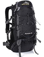FuXing Mochila Al Aire Libre Para Camping, Mochilas De Nylon Para Camping de 40 litros, Utilizadas Para Escalar Mochila Para Esquiar Senderismo Alpinismo Ciclismo y Trekking (Negro)