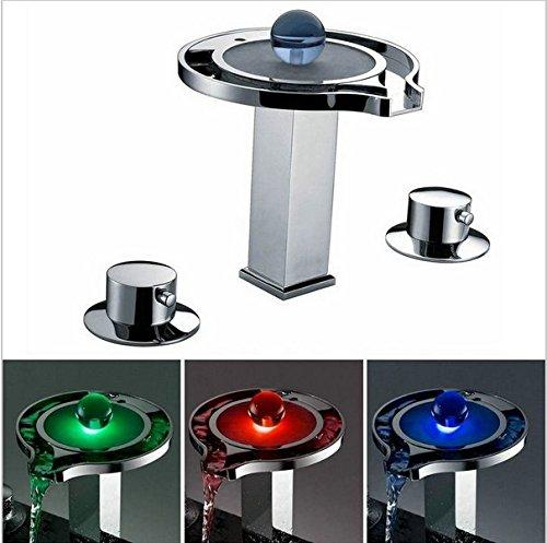 Gowe Mélangeur Cascade pour robinets, mélangeurs et robinets d'eau d'alimentation LED Mitigeur de lavabo Chrome Baignoire LED robinet