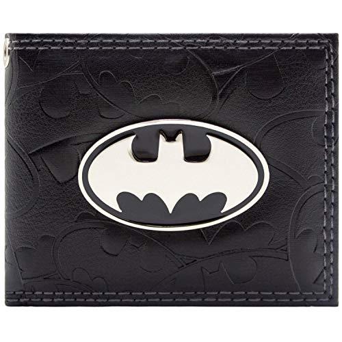 DC Comics Batman geprägte Symbole Portemonnaie Geldbörse Schwarz -