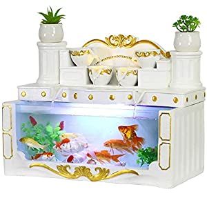 HeKai Aquarium Living Room Small Desktop Creative European Rectangular Glass Lazy Free Water Ecological Goldfish Tank…