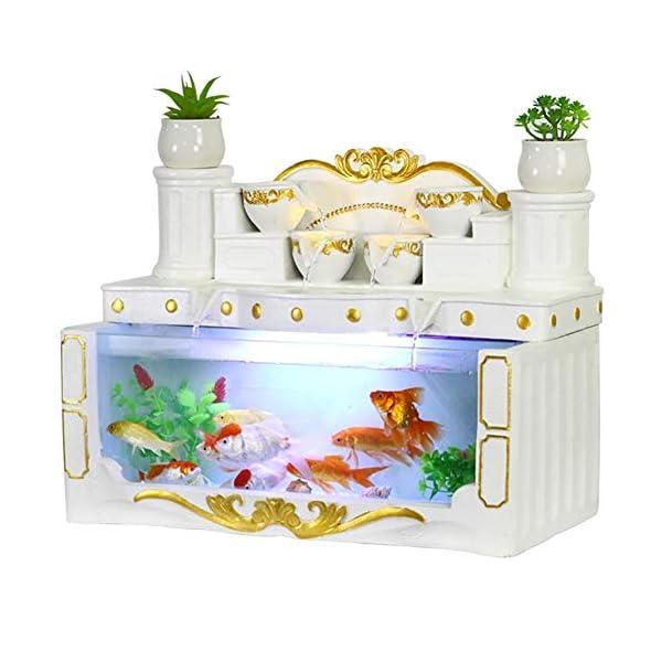 HeKai Aquarium Living Room Small Desktop Creative European Rectangular Glass Lazy Free Water Ecological Goldfish Tank…