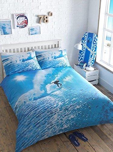 Surfer Photographic King Quilt Duvet Cover & 2 P/case Ocean Wave Bedding Bed Set by Homespace Direct Surf-quilt-set