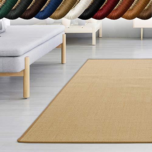 casa pura Sisal Teppich myStyle | viele Größen | mit Umkettelung in Wunschfarbe | für modernes und individuelles Wohnen (beige umkettelt, 140x200 cm)