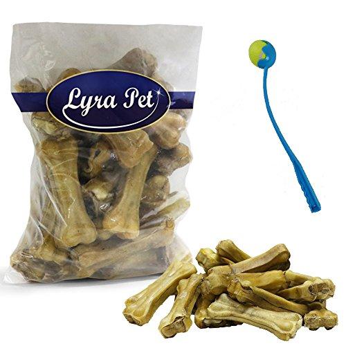 Lyra Pet 20 Kauknochen mit Ochsenziemerfüllung 10cm Kausnack Hund+ Ballschleuder