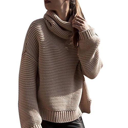 Dünn Pullover Sunday Damen Langarm Lose Hohe Kragen Gestrickten Pullover Jumper Strick Top Bluse (Braun, XL) (Schwarzes Karriere-hosen Kleid,)