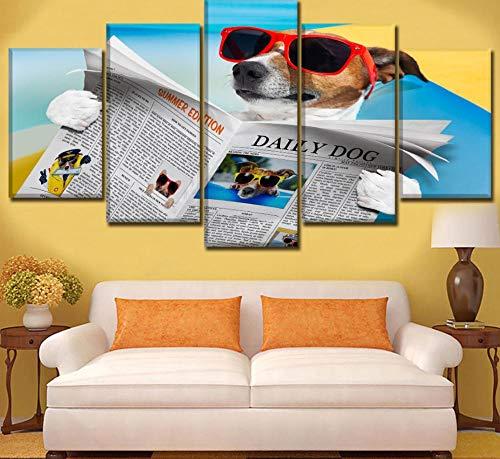 Leinwandbild 5 Stücke Sehen Zeitung Sommer Sonnenbrille Poster HD Drucken Wohnkultur Kinderzimmer Wandkunst Humor Hund Malerei Rahmen-20x35 20x45 20x55
