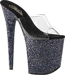 Pleaser Womens Flamingo-801LG Sandal, Clr/Black Holo Glitter, 9 M US