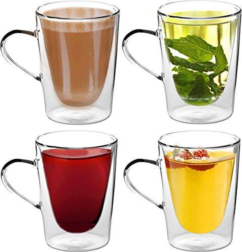 Eisbahnen-Getränk-doppelwandige Latte-/Kaffee-/Tee-Gläser mit Griff 285ml (10oz) - x4