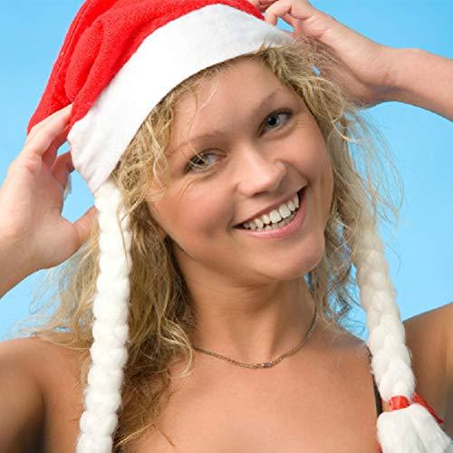 SuperCimi Erwachsene Weihnachten Weihnachtsmütze, SAMT Weihnachten Hut mit Plüsch Trim und Comfort Liner Xmas Hat mit Braid (Topper Baum Hut)