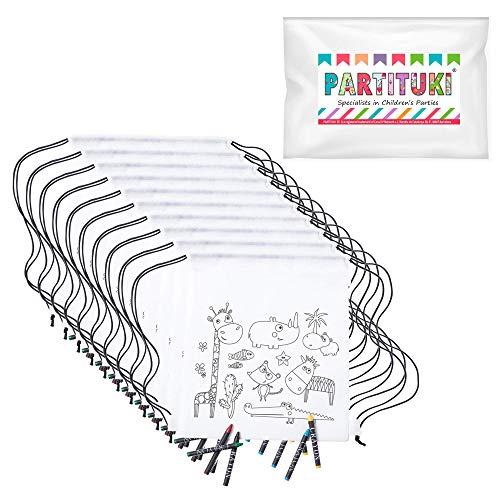 Partituki 10 Mochilas Infantiles para Colorear. Cada Una Incluye 5 Ceras de...
