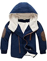Usstore Coat for Baby,Kids Toddler Boys Hooded with Fur Outerwear Warm Winter Jacket Snowsuit Clothing(3-9Ys, Navy)