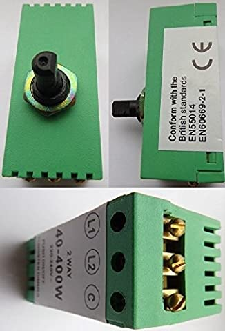 Visonator Dimmer Switch Module 40 - 400 watt Push on/off Rotary Twist To Dim 1 or 2 Way