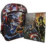 """Marvel Avengers Civil War Captain America Super Hero 16"""" Backpack Bookbag With Bonus Stationery (CW Folder)"""