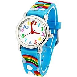Mixe Time Teacher Kids Sports Watch Boys Girls 3D Rainbow Sky Blue Silicone Analog Watches Birthday Xmas Gift