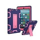 TianTa Custodia Fire 7 2017 Case Custodia Ibrida Tre-Strati Cover Silicone + PC Protettiva Case con Supporto per Fire 7-inch Tablet (7th Generation, 2017 Release) - Blu Navy/RoseRed