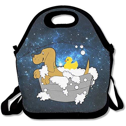 Süßer Hund im Badezimmer mit Gummiente, große und dicke Neopren-Lunch-Taschen, isoliert, warm, mit Schultergurt, für Damen, Teenager, Mädchen, Kinder und Erwachsene