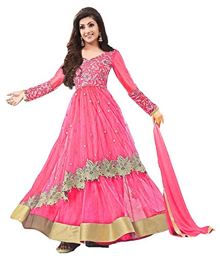 Clickedia Women\'s Net Embroidered Pink & Golden Semi Stitched Anarkali - Dress Material