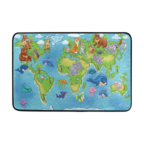 Badteppich, Animal World Map Print rutschfeste Antischimmel-Einfach Dry Fußmatte Teppich für Dusche Raum Badezimmer Tür Indoor Outdoor 58,4x 38,1cm (Tür-matte Animal-print)