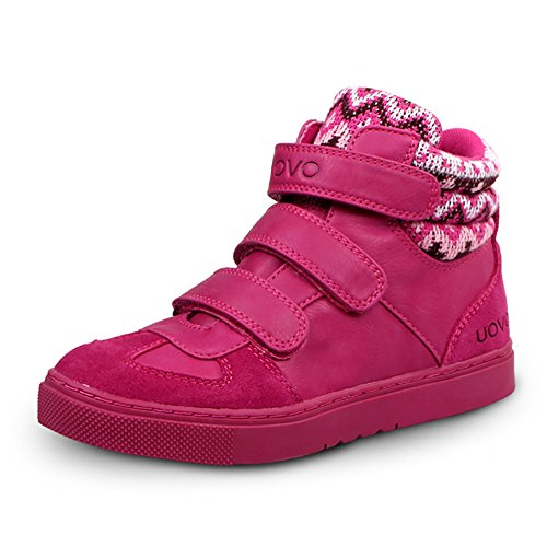 uovo-casual-high-top-shoes-with-3-velcros-for-kids-boys-girls-uk-size-1-eu-33-us-size-2-fuchsia