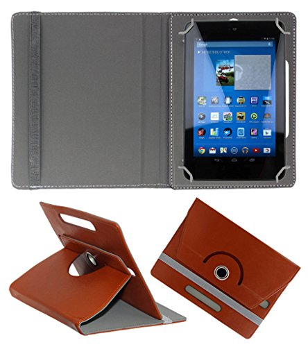ACM ROTATING 360° LEATHER FLIP CASE FOR DELL VENUE 7 3740 TABLET STAND COVER HOLDER BROWN  available at amazon for Rs.149