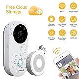 Dophingo 960p HD Interphone vidéo avec sonnette de porte sans fil en temps réel Vidéo Surveillance vidéo en temps réel Stockage Cloud gratuit Compatible avec iOS Android
