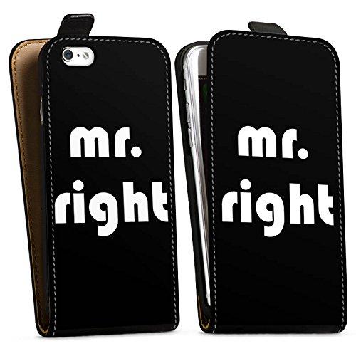 Apple iPhone X Silikon Hülle Case Schutzhülle Liebe Mr Right Love Downflip Tasche schwarz