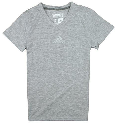 Adidas Youth Big Girls Ultimate Athletic V-Neck Tee, Mädchen, Heathered Grey (V-neck Tee Ultimate)