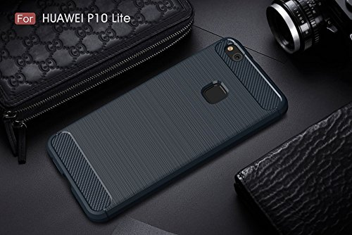 EKINHUI Case Cover Gebürstete Carbon Fiber Robuste Rüstung Stoßstange Fall Schock Absorbtion Drop Resistance Shell Back Cover für Huawei P10 Lite ( Color : Red ) Blue