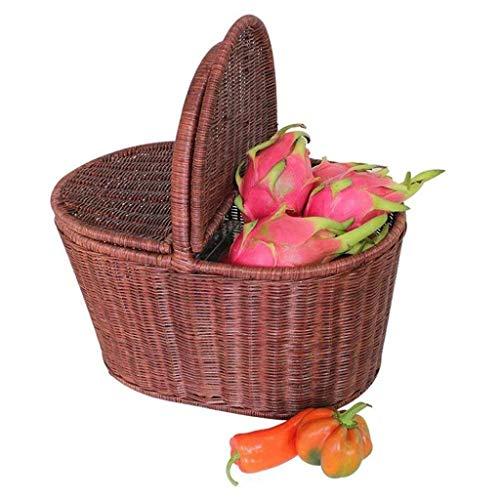 YJLGRYF Regale Rattan Wicker Picknickkorb Ablagekorb Einkaufskorb Einkaufskorb Überdachter Outdoor-Korb Geschenkkorb Regalböden (Size : S) - Wicker Regal Korb