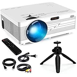 Merisny Mini Proyector Portatil, 2400 Lúmenes Video Proyector LCD 40000 Horas LED, 1080P HDMI VGA AV USB SD PC Phone, Home Theater Videojuegos Entretenimiento-Blanco (Cable HDMI y Trípode Incluidos)
