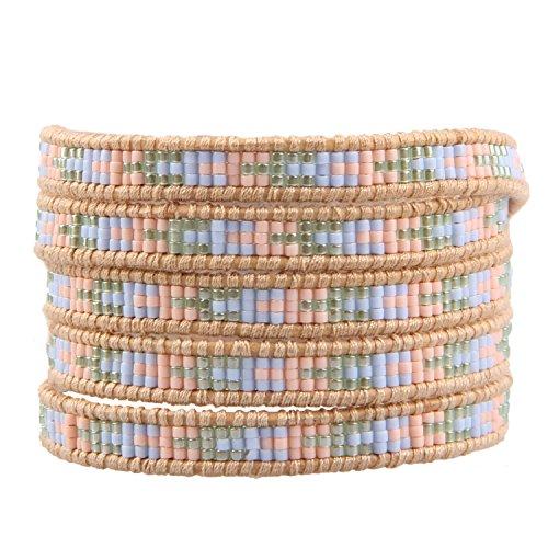 Rainbow Webstühle (KELITCH Blau Grün Rosa Rocailles Perlen HandgemAchat Woven Wickelarmband Damen Echtes Lederarmband)