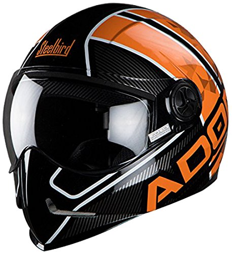 Steelbird Men's ISI Certified Adonis Majestic With Plain Visor in Glossy Finish (L-600 MM, Glossy Black With Orange)