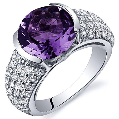 Revoni Bezel Set Large 3.25 Carats Amethyst Ring in Sterling Silver