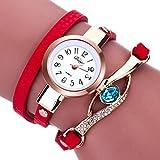 LSAltd Damen Art und Weisediamant-Verpackung um Uhr Lederoid Quarz Armbanduhr (Rot)